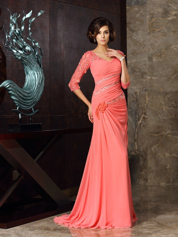 Half Sleeves Brush Train Watermelon Mother of the Bride Dresses