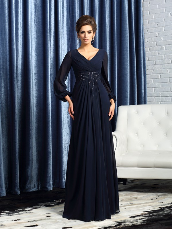 Dark Navy V-neck Floor-Length Mother of the Bride Dresses with Beading