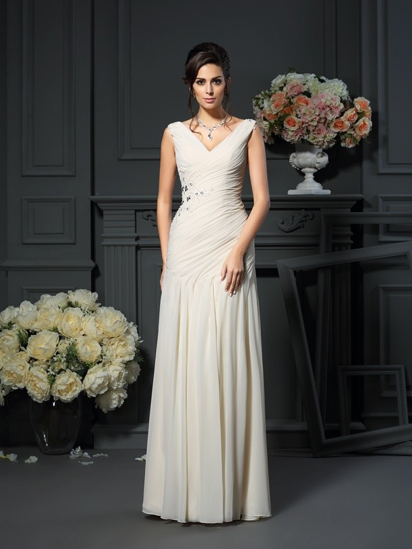 Champagne V-neck Chiffon Floor-Length Mother of the Bride Dresses
