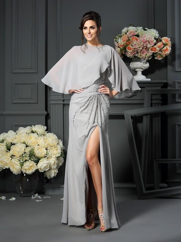 Mermaid One-Shoulder Floor-Length Silver Mother of the Bride Dresses