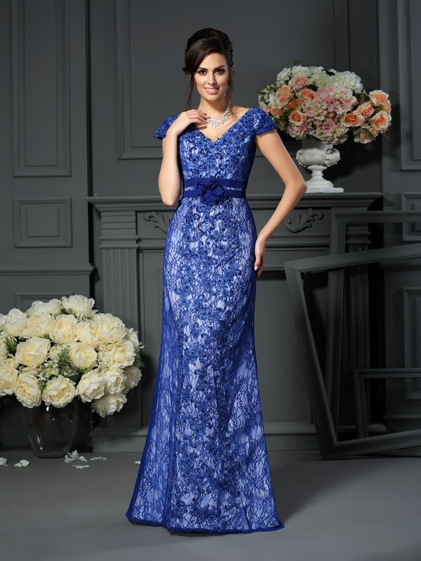 Royal Blue Mermaid V-neck Floor-Length Mother of the Bride Dresses with Beading