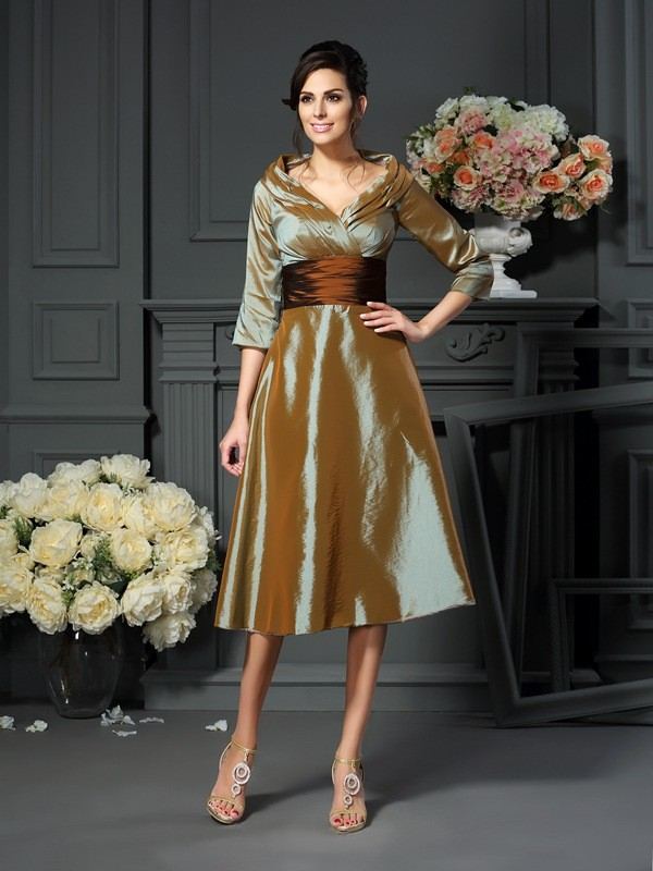 3/4 Sleeves V-neck Tea-Length Brown Mother of the Bride Dresses