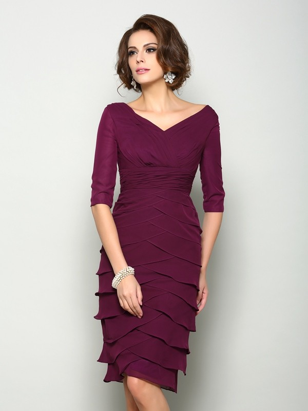 Half Sleeves V-neck Knee-Length Burgundy Mother of the Bride Dresses