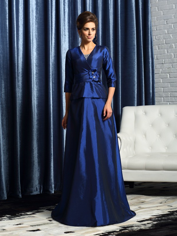 Taffeta Half Sleeves V-neck Floor-Length Royal Blue Mother of the Bride Dresses