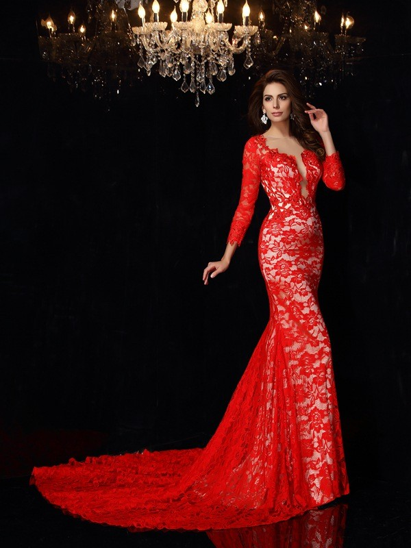 Elastic Woven Satin 3/4 Sleeves Scoop Court Train Red Prom Dresses