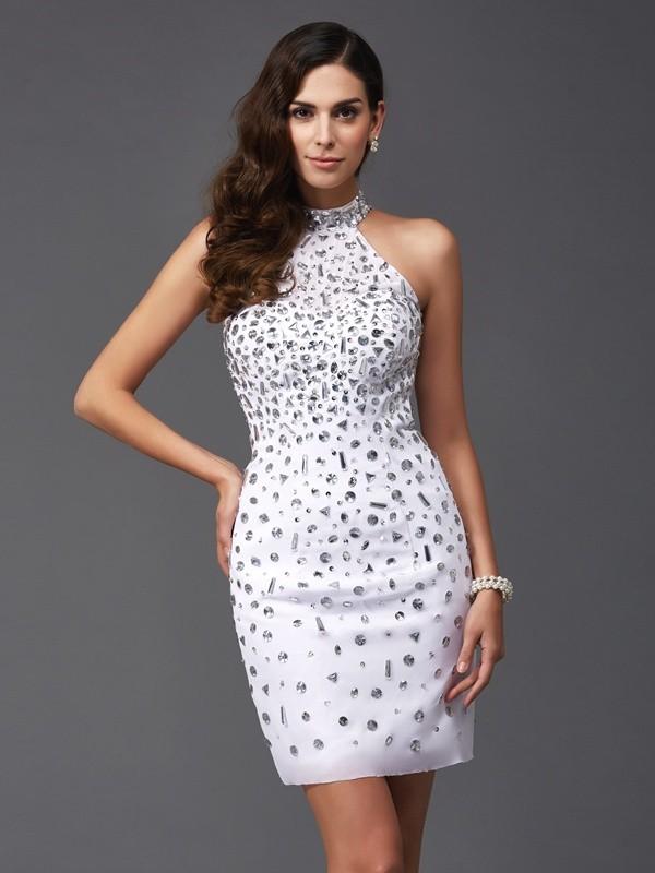 Chiffon Halter Short/Mini White Homecoming Dresses