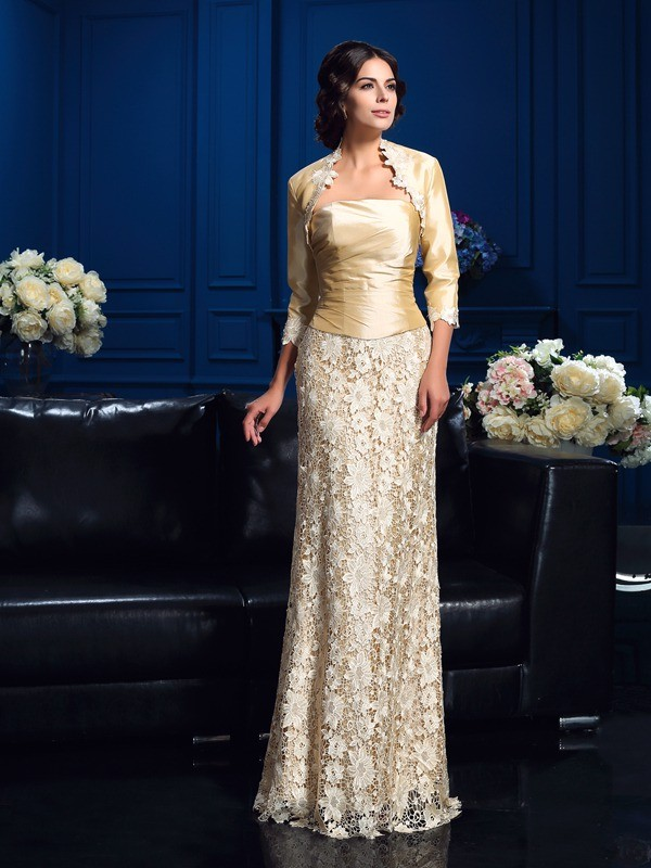 Lace Strapless Floor-Length Champagne Mother of the Bride Dresses