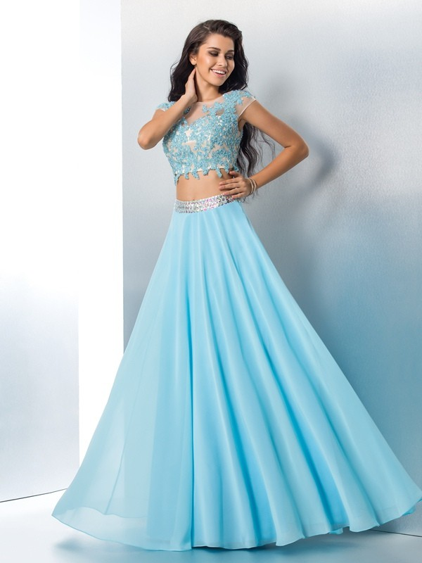 A-Line Short Sleeves Sheer Neck Floor-Length Light Sky Blue Prom Dresses