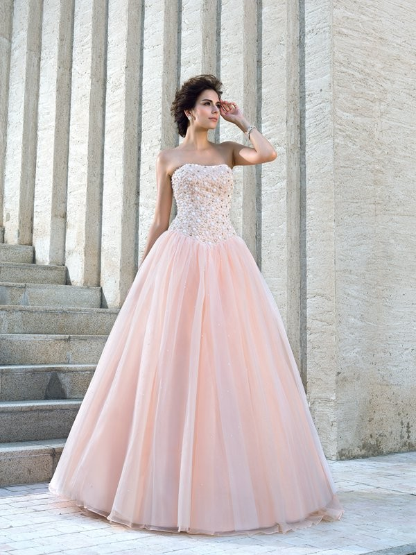 Ball Gown Strapless Floor-Length Pink Wedding Dresses