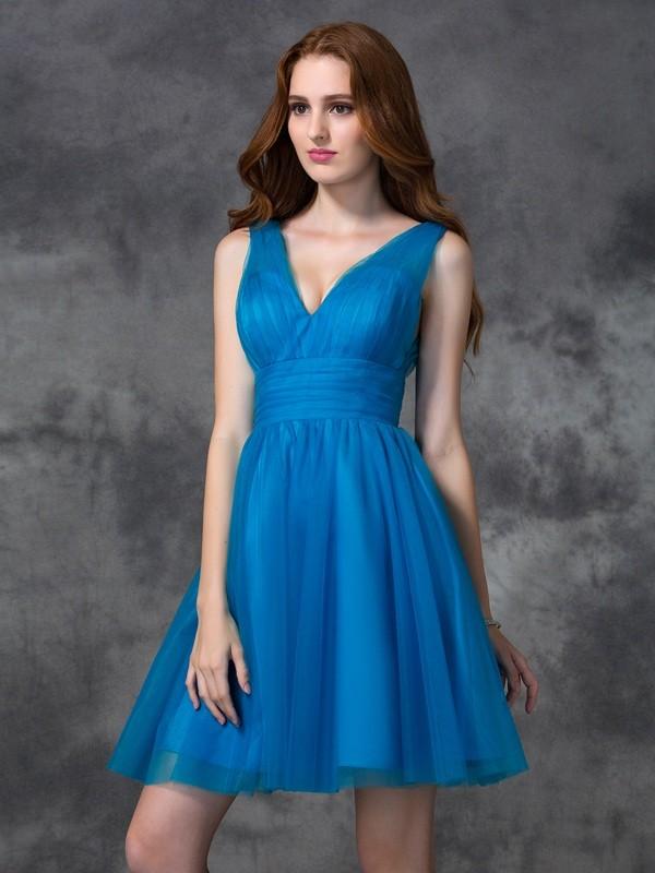 A-Line V-neck Short/Mini Royal Blue Bridesmaid Dresses