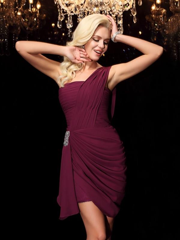 Chiffon Sheath Short/Mini One-Shoulder Burgundy Homecoming Dresses