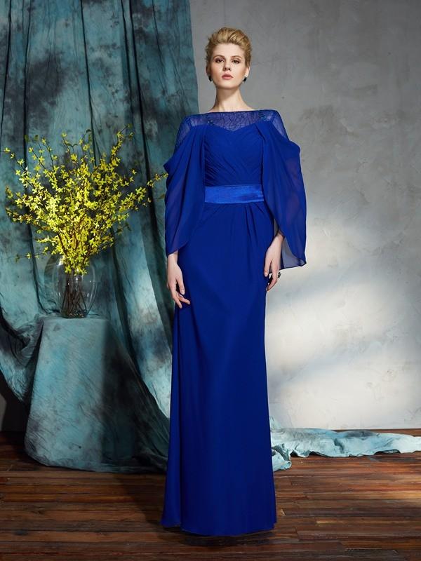 Sheath Chiffon Long Sleeves Bateau Floor-Length Prom Dresses