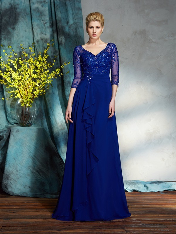 Royal Blue V-neck Floor-Length Mother of the Bride Dresses with Sequin
