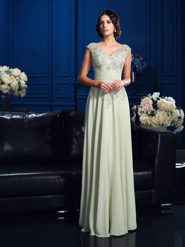Chiffon A-Line Floor-Length V-neck Lilac Mother of the Bride Dresses