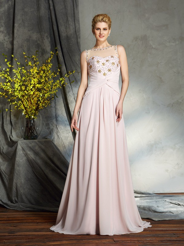 Bateau Brush Train Pearl Pink Mother of the Bride Dresses with Applique