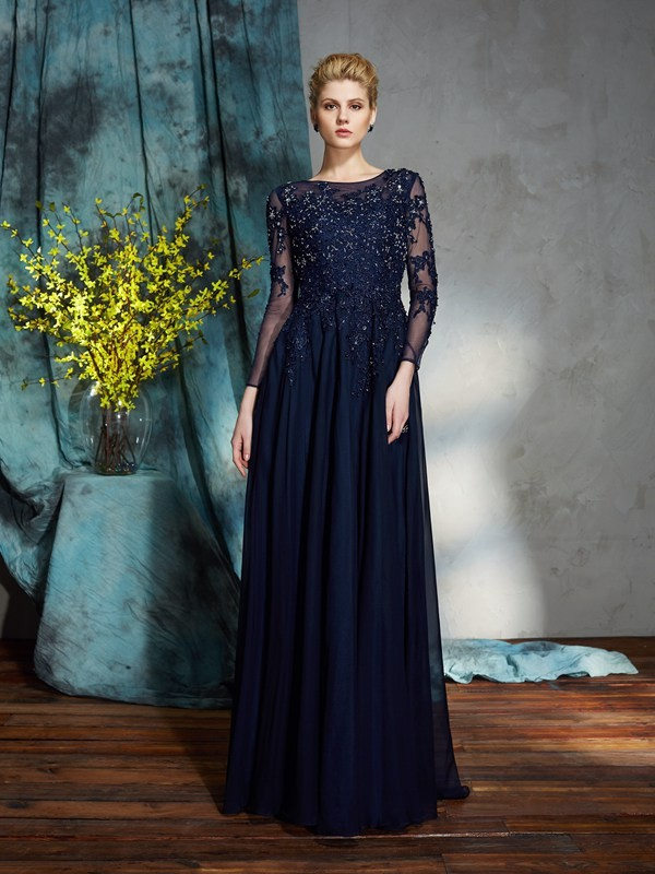 3/4 Sleeves Scoop Floor-Length Dark Navy Mother of the Bride Dresses