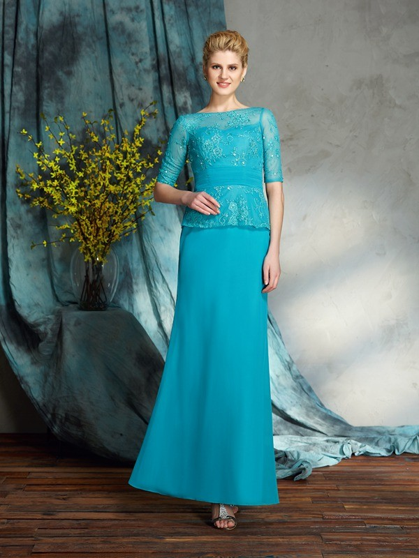 Sheath Bateau Floor-Length Blue Mother of the Bride Dresses