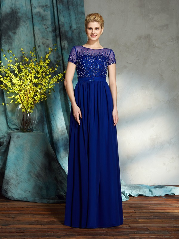 Scoop Floor-Length Royal Blue Mother of the Bride Dresses with Beading