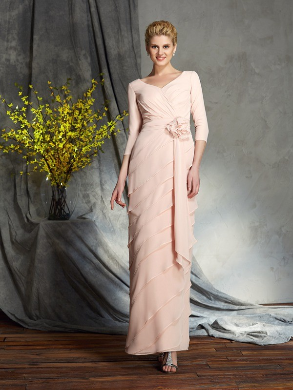 Pink Sheath V-neck Floor-Length Mother of the Bride Dresses