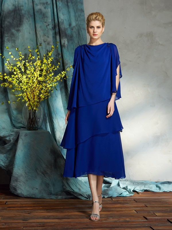 Knee-Length Royal Blue Bateau Mother of the Bride Dresses with Applique