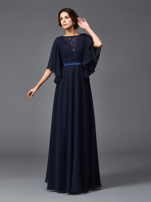 Half Sleeves Scoop Floor-Length Dark Navy Mother of the Bride Dresses with Beading