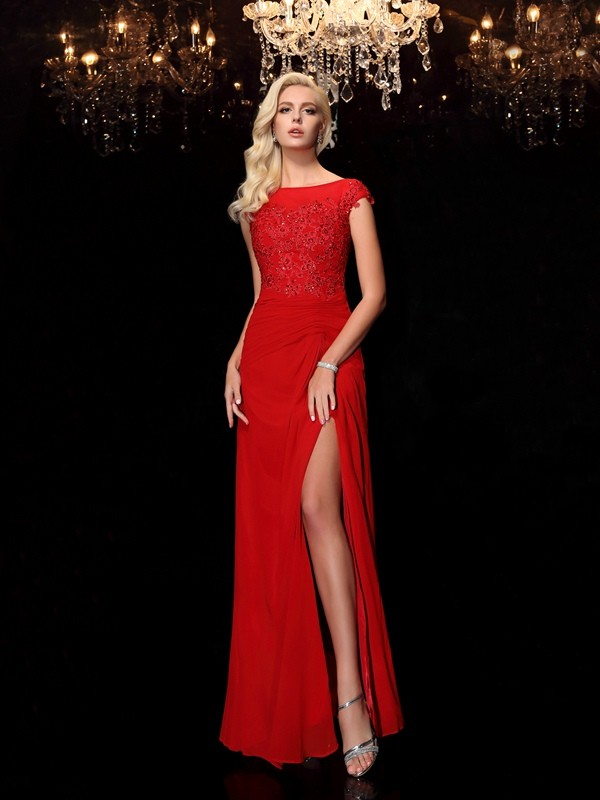 Sheath Bateau Floor-Length Red Mother of the Bride Dresses
