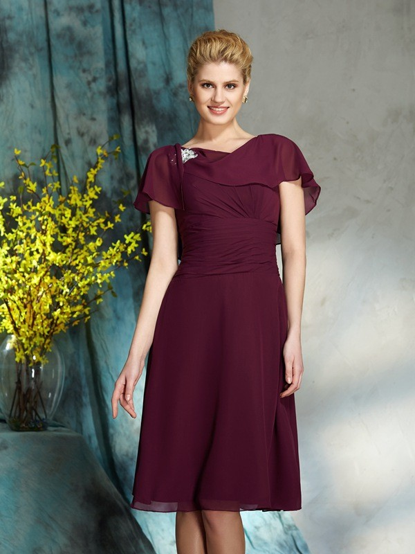 Half Sleeves Scoop Knee-Length Burgundy Mother of the Bride Dresses