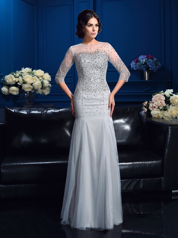 Sheath Net 3/4 Sleeves Scoop Floor-Length Mother of the Bride Dresses with Beading