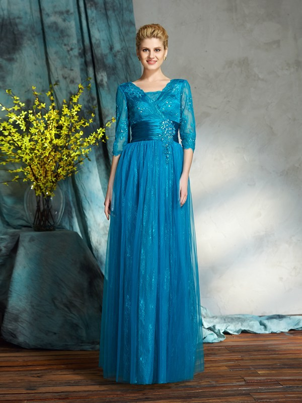 3/4 Sleeves V-neck Floor-Length Blue Mother of the Bride Dresses