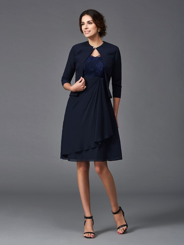 Half Sleeves V-neck Knee-Length Dark Navy Mother of the Bride Dresses