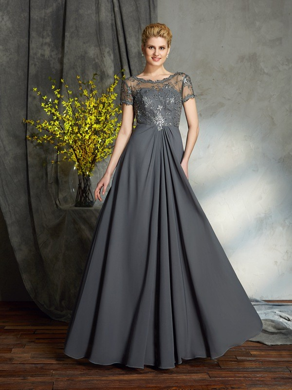 Scoop Floor-Length Silver Mother of the Bride Dresses with Applique