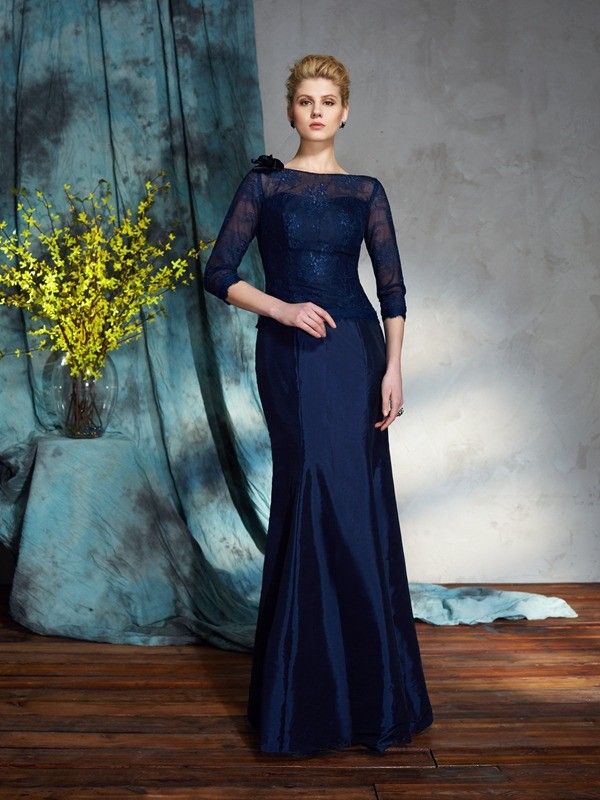Half Sleeves Mermaid Bateau Floor-Length Dark Navy Mother of the Bride Dresses