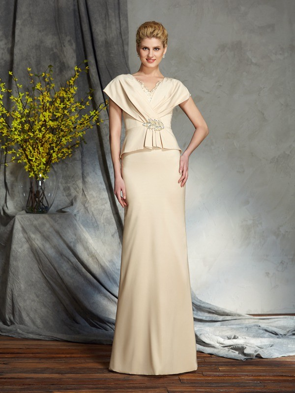 Sheath V-neck Floor-Length Other Mother of the Bride Dresses with Beading