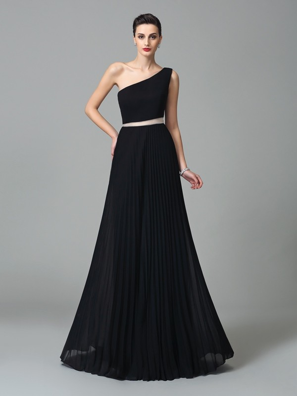 Floor-Length Black One-Shoulder Prom Dresses with Pleats
