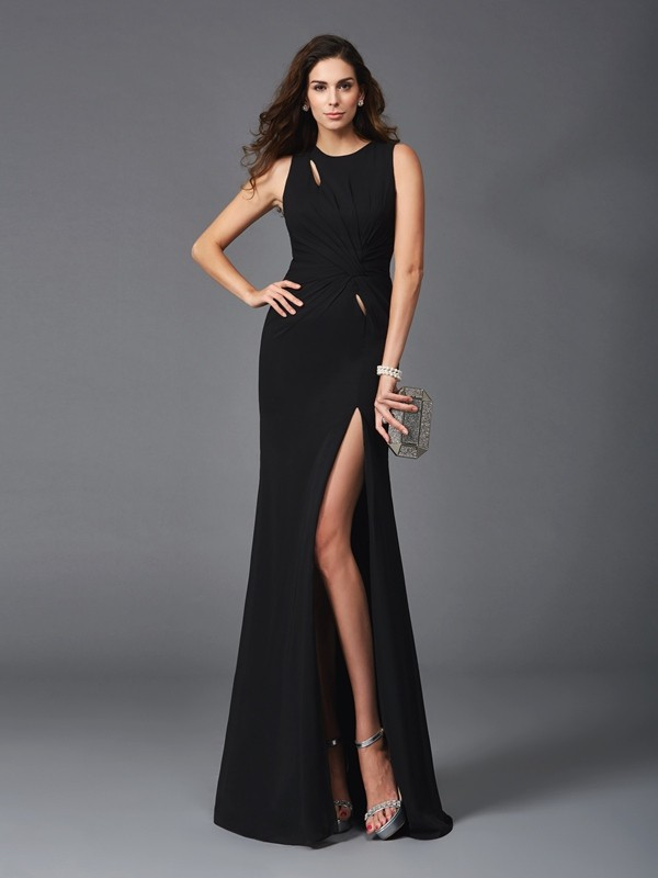 Black Scoop Chiffon Floor-Length Prom Dresses