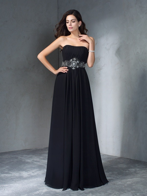 A-Line Chiffon Strapless Floor-Length Black Prom Dresses