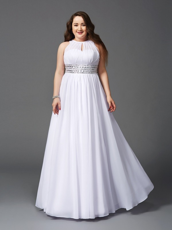 A-Line Jewel Floor-Length White Prom Dresses with Beading
