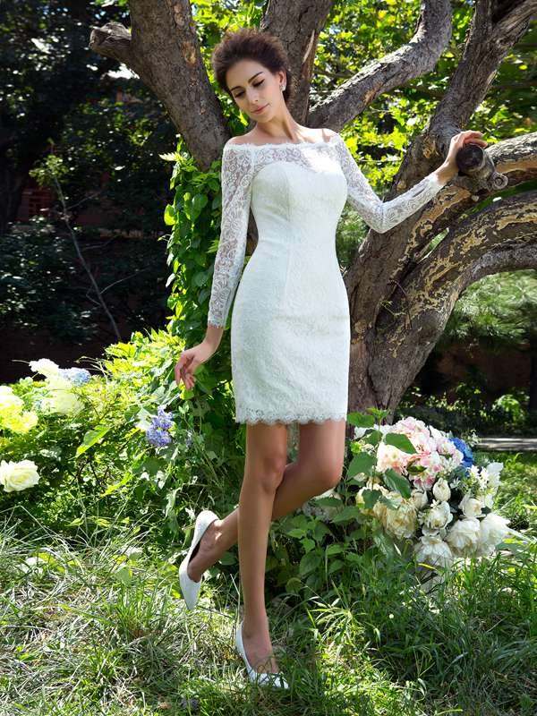 Ivory Scoop Satin Short/Mini Wedding Dresses