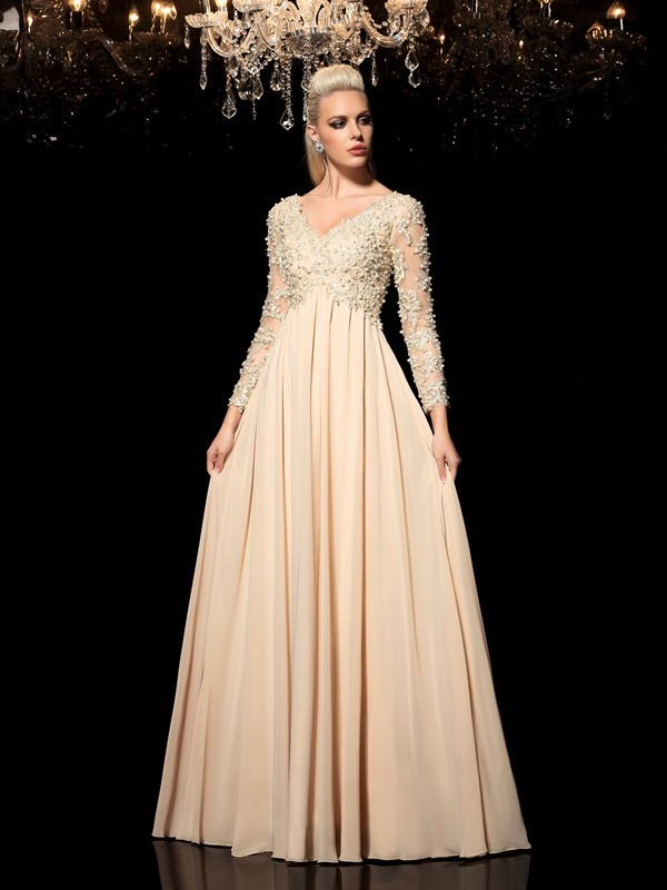 Champagne V-neck Chiffon Floor-Length Prom Dresses