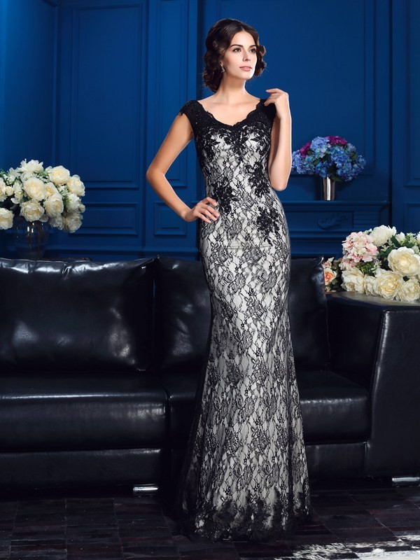 Sheath V-neck Floor-Length Silver Mother of the Bride Dresses with Lace