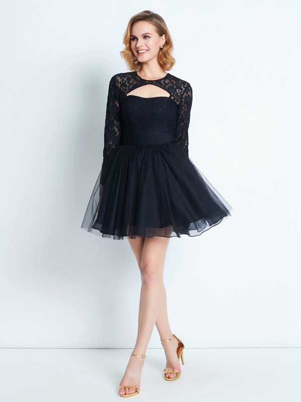A-Line Long Sleeves High Neck Short/Mini Black Homecoming Dresses