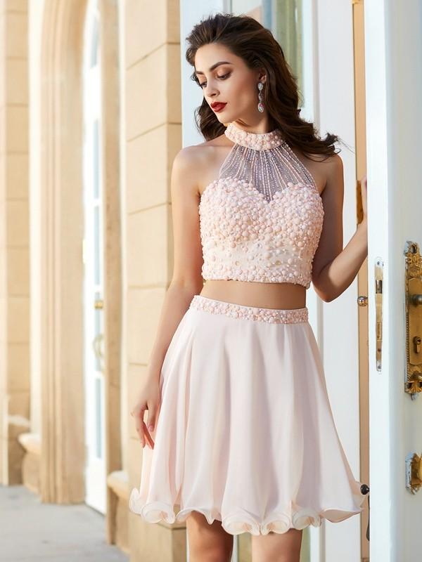 Chiffon Halter Short/Mini Pink Homecoming Dresses