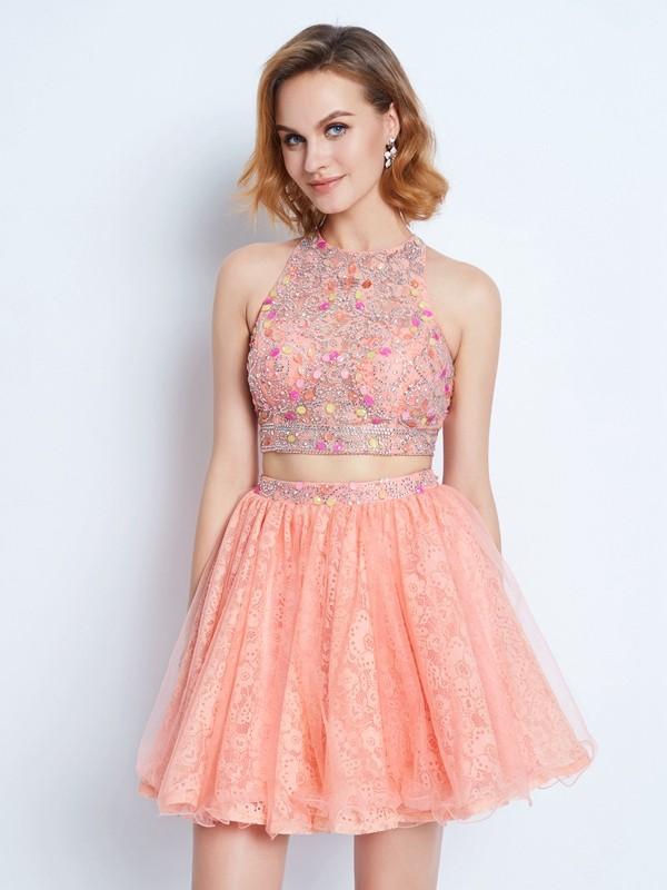Lace Jewel Short/Mini Pink Homecoming Dresses