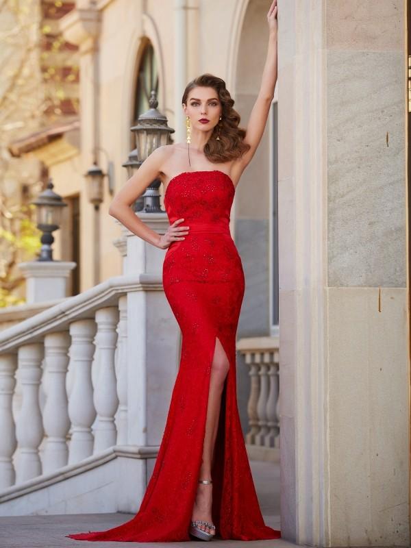 Satin Mermaid Brush Train Strapless Red Prom Dresses