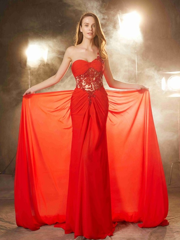 Sheath One-Shoulder Brush Train Red Prom Dresses with Beading