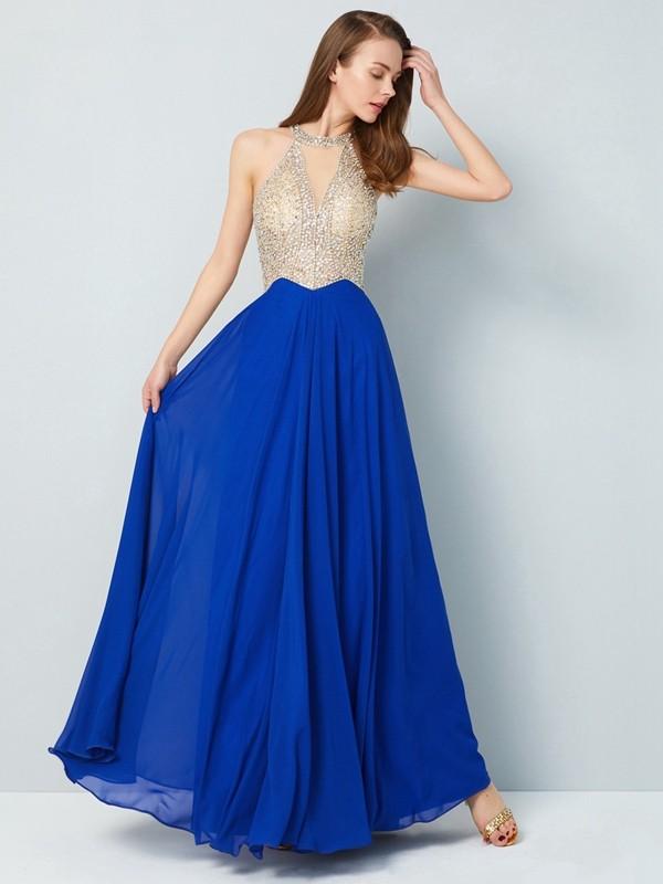 A-Line Scoop Floor-Length Royal Blue Prom Dresses