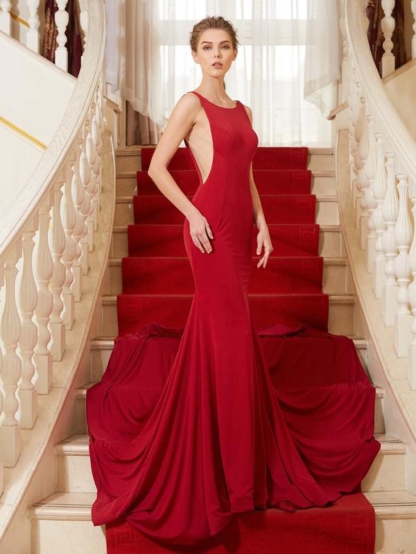 Mermaid Straps Brush Train Red Prom Dresses with Ruffles