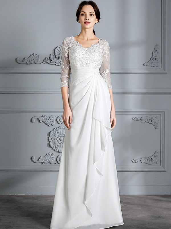 Sheath V-neck Floor-Length Ivory Wedding Dresses