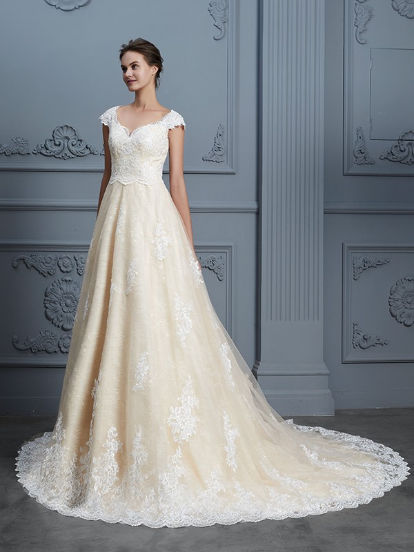 Champagne Sweetheart Lace Court Train Wedding Dresses