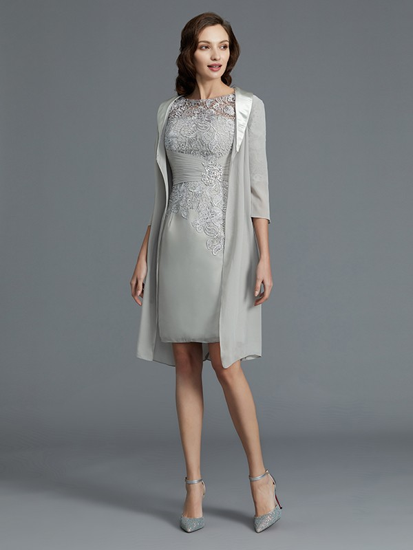 Short Silver Half Sleeves Scoop Mother of the Bride Dresses